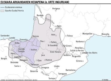 extension del euskara arcaico